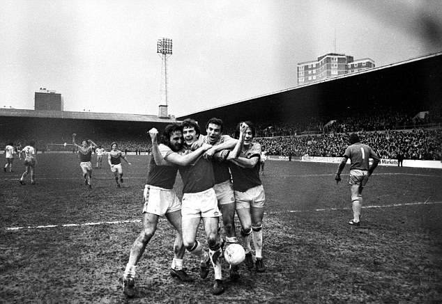 Frank Lampard, Ray Stewart, Trevor Brooking and Stuart Pearson celebrate after Stewart scored from the penalty spot  West Ham United v Aston Villa  1980 FA Cup Quarter Final  Upton Park  Football  08/03/1980  Photo: Frank Baron  © Sporting Pictures (UK) Ltd  Tel: 020 7405 4500  Fax: 020 7831 7991  www.sportingpictures.com  Mandatory Credit: Action Images / Sporting Pictures