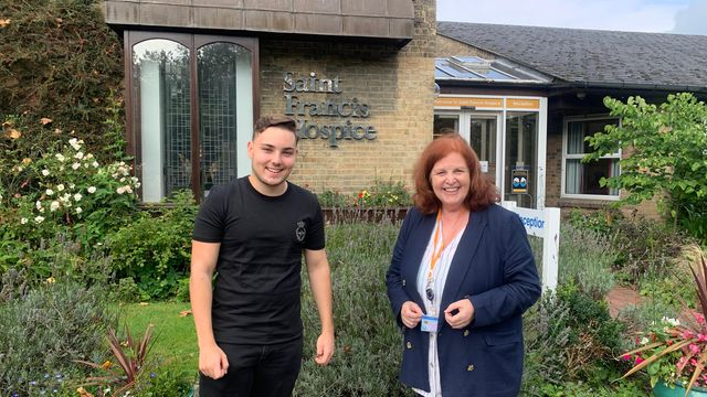 Jack-sullivan-with-pam-court-chief-executive-officer-at-saint-francis-hospice
