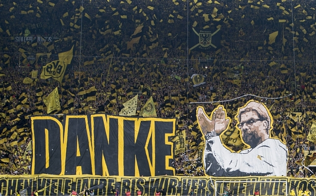 Mandatory Credit: Photo by Hoogte/REX Shutterstock (4786790d)  Borussia Dortmund supporters thank coach Jurgen Klopp  Borussia Dortmund v Werder Bremen, Bundesliga football match, Signal Iduna Park, Dortmund, Germany - 23 May 2015  Jurgen Klopp's final home game in charge of Borussia Dortmund