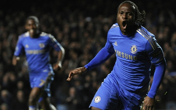 Chelsea's Victor Moses celebrates after scoring a goal against Shakhtar Donetsk during their Champions League group E soccer match at Chelsea's Stamford Bridge stadium in London, Wednesday, Nov.  7, 2012.(AP Photo/Tom Hevezi)