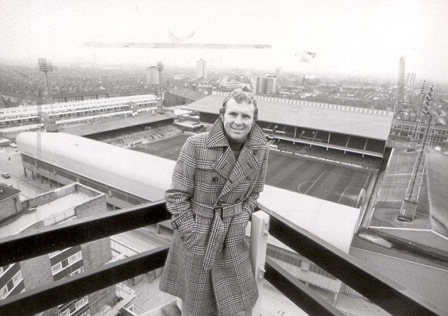 PKT4388-315799 BOBBY MOORE FOOTBALLER 1977 Bobby Moore pictured with his home ground, Upton PArk, in  the background, talks about his years with West Ham, in Thames Television's THIS SPORTING LAND.